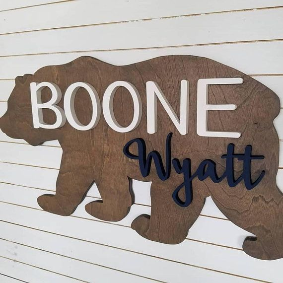 24 Inch Bear Custom Round Name Sign Nursery Name Sign 3d Letters