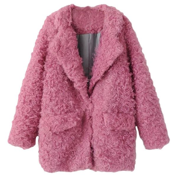 Pink Pretty Laides Turndown Collar Plain Warm Fur Coat ($86) ❤ liked on Polyvore featuring outerwear, coats, jackets, pink, tops, pink coat, fur-collar coat, collar coat, fur coat and purple coat