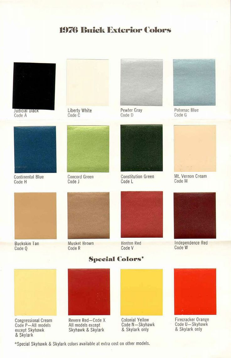 1976 Buick exterior color chart. Note all the nods to the ...