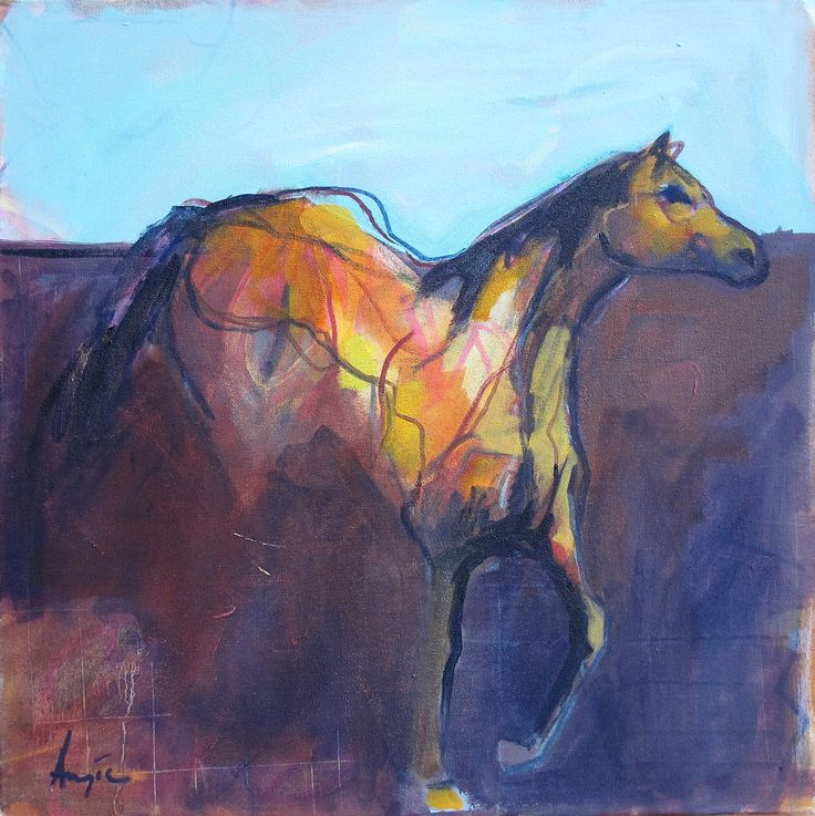 "Angie Arbuthnot, oil on canvas, ""Georgie's horse"", 50x50cm, 2016"