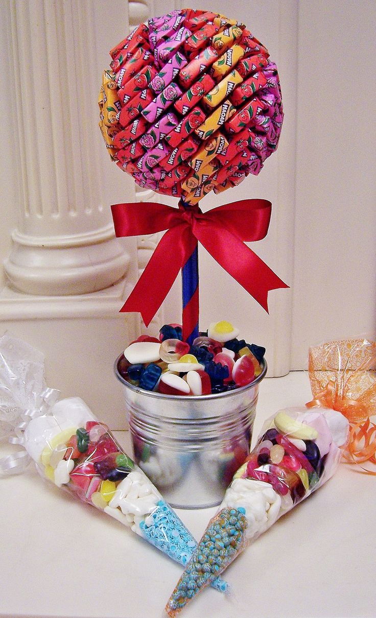 A great idea for a kids party. A Maoam Candy tree with candy filled cones, perfect as party favors www.candytreescambridge.co.uk