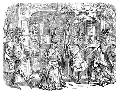 Mummers. Victorian picture showing a troupe of mummers at a gateway in costume and wearing grotesque human and animal masks. Download high quality jpeg for just £5. Perfect for framing, logos, letterheads, and greetings cards.