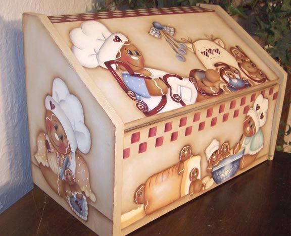 free images to paint on bread boxes | Gingerbread Bread Box Painting Pattern | eBay