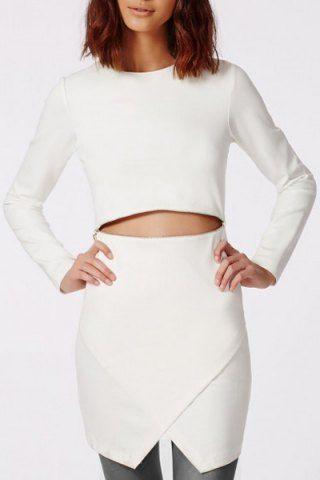 Elegant Round Collar Solid Color Zippered Long Sleeve Dress For WomenLong Sleeve Dresses | RoseGal.com