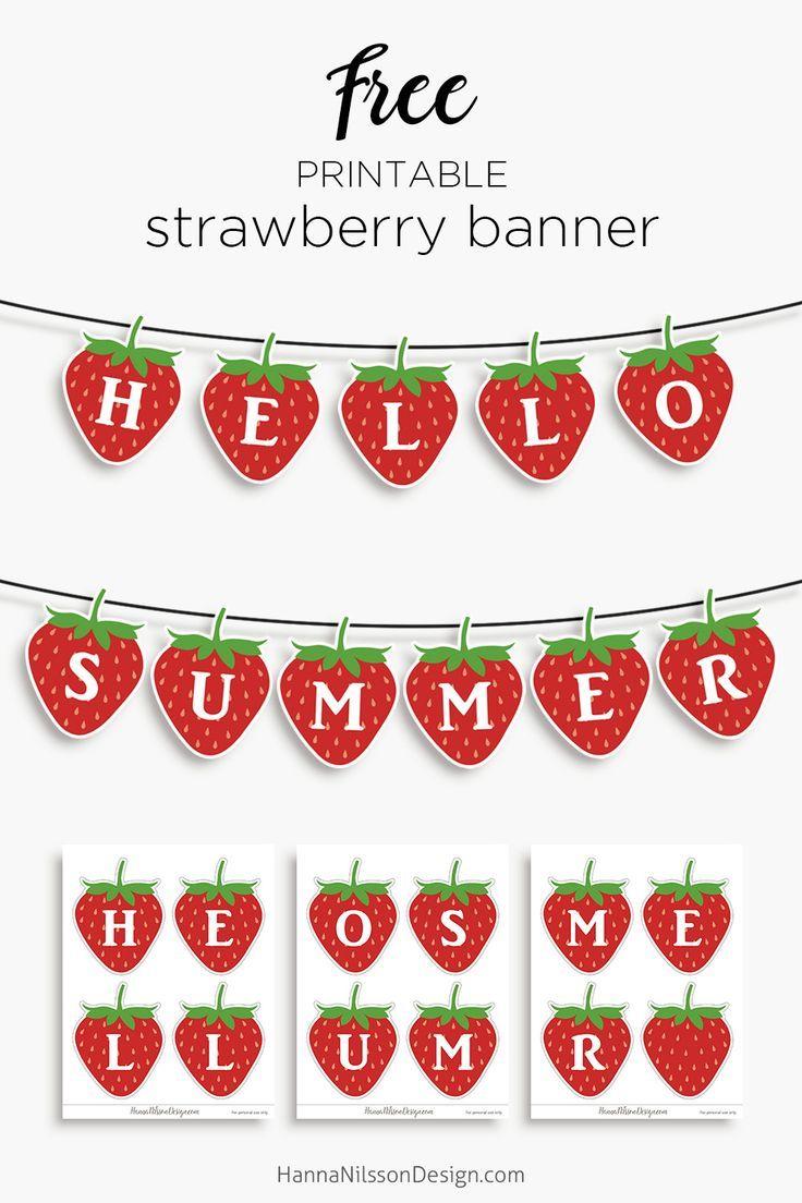 Hallo Sommer Erdbeer Banner