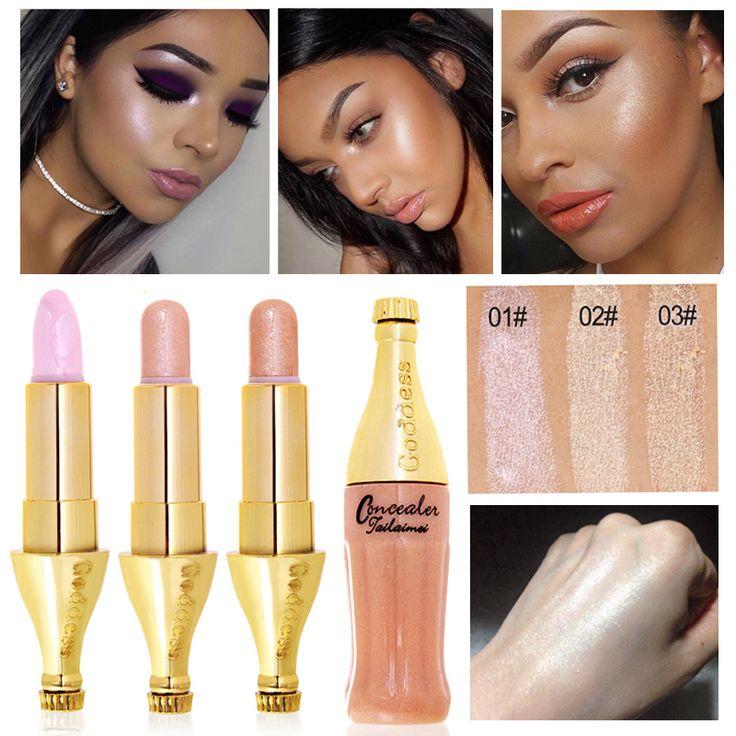 2017 Nueva Marca de Maquillaje Para Las Mujeres Glitter Color Contorno de Maquillaje Cosmético 1 UNID Impermeable Cara Alegrar Resaltador Shimmer Palo