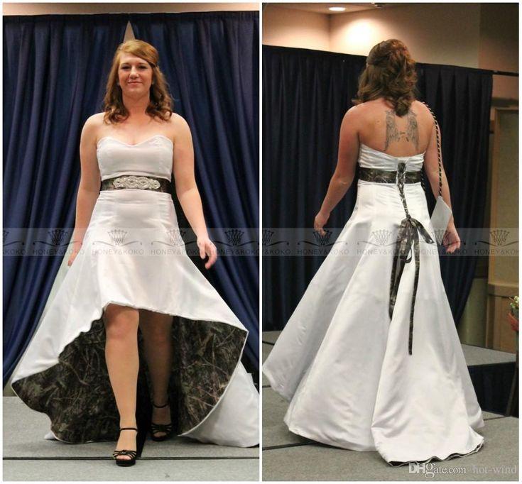 Popular  Spring Camo Wedding Dresses Sweetheart Lace Up Back High Low Wedding Dresses Vintage Plus Size
