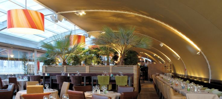 O'Restaurant • Levallois-Perret, France | acoustic tensioned ceiling made with Batyline membrane by Serge Ferrari