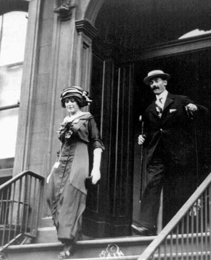 John Jacob Astor IV and his wife Madeline leaving their apartment