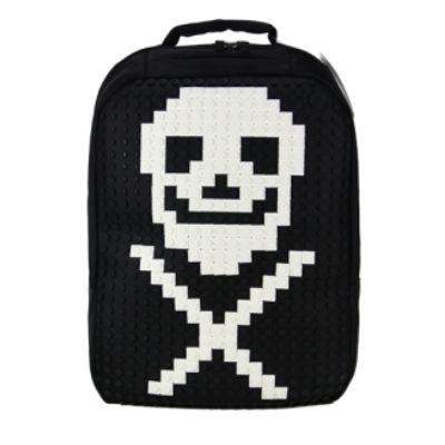 Black #DIY with white pixels - motive skull