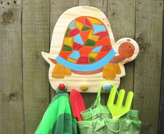 Hand Painted Wooden Tortoise Childrens Coat Hook, Childrens Coat Pegs, Childrens Coat Rack. Free personalisation.    This colourful and funky