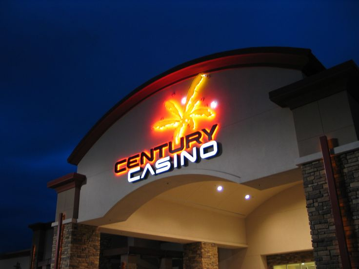 Century Casino in Edmonton, Alberta. Halo-lit letters with flashing logo.