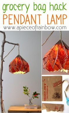Trader Joes Bag Hack: How to Make Pendant Lamp and Origami Lampshade!   A Piece…