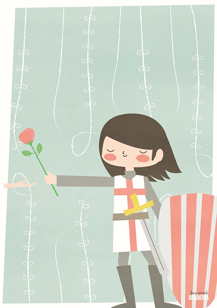 "Illustration to celebrated ""Sant's Jordi Book Day"" in Catalonia (Spain).  Illustration para celebrar Sant Jordi, el día dle libro en Cataluña."