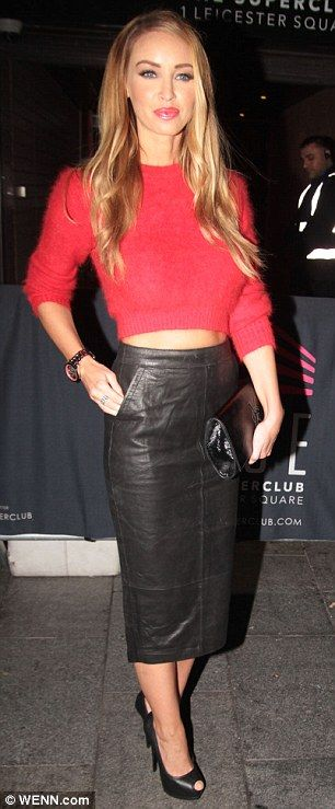 TOWIE star Lauren Pope works a balanced look for her latest outing at Rise nightclub in London''s Leicester Square on Tuesday