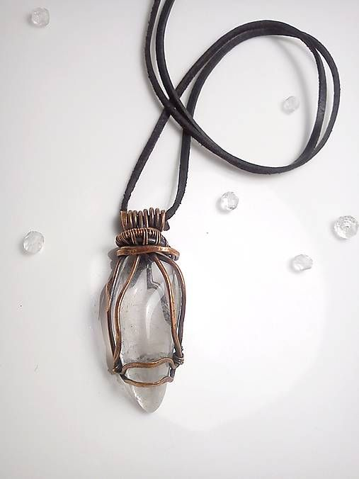 Aqua pendant, wire pendant crystal diy wrapping copper jewelry
