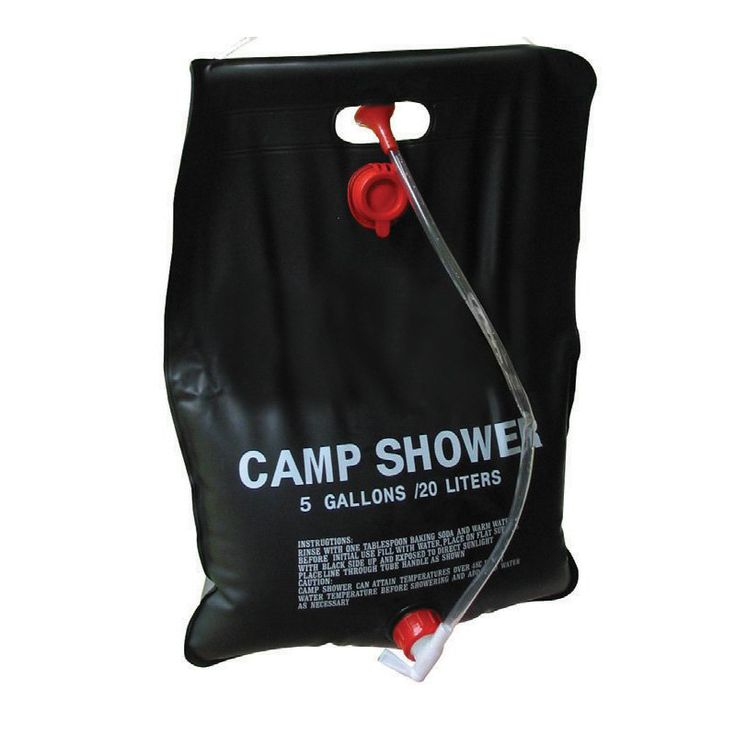 Picture shows a black solar shower made of plastic with a short hose attached.