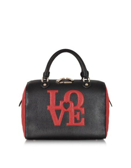 LOVE MOSCHINO BLACK & RED QUILTED ECO LEATHER SATCHEL BAG W/SHOULDER STRAP