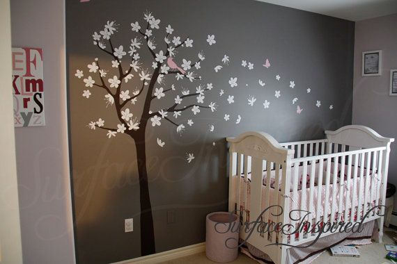 Wall Decals Nursery - Contemporary cherry blossom tree with white flowers and soft pink animals - Baby Tree Wall Decals 112 on Etsy, $96.70
