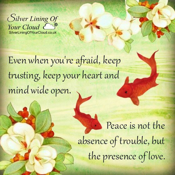 Even when you're afraid, keep trusting, keep your heart and mind wide open. Peace is not the absence of trouble, but the presence of love. ..._More fantastic quotes on: https://www.facebook.com/SilverLiningOfYourCloud  _Follow my Quote Blog on: http://silverliningofyourcloud.wordpress.com/