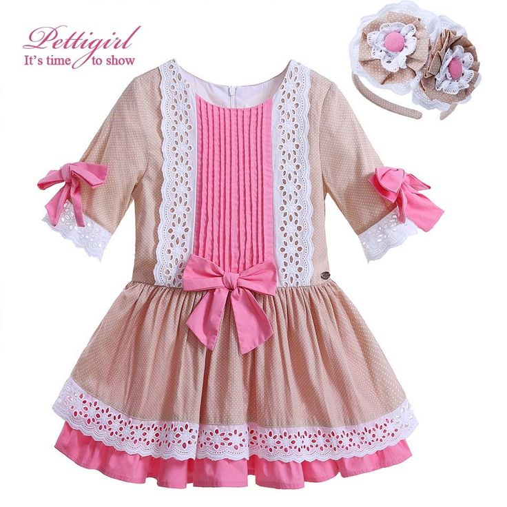 (26.09$)  Buy here  - Fashion Lolita Style Cotton Half Sleeve Girl Princess Dresses With Headwear Boutique Pink Bowknot Kids Clothes G-DMGD906-783