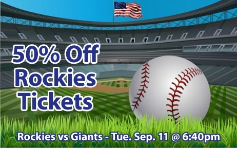 50% off Colorado Rockies Tickets vs San Francisco Giants Tue. Sep. 11 @ 6:40pm