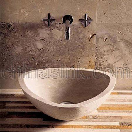 49 best sinks stone images on pinterest bathroom sinks for Travertine sinks bathroom