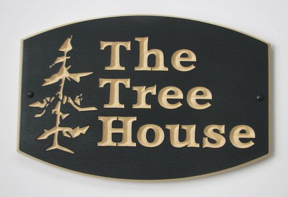 Custom Carved Wood Cottage/House Sign with Carved Tree