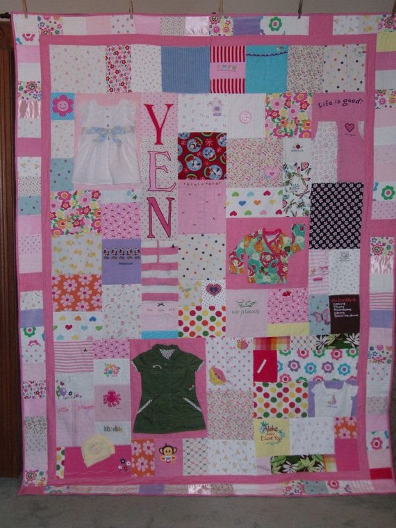 Wish I would have done this for Dil instead of donating all his old stuff. Good idea for Kenzie ;) Quilt made from outgrown baby clothes