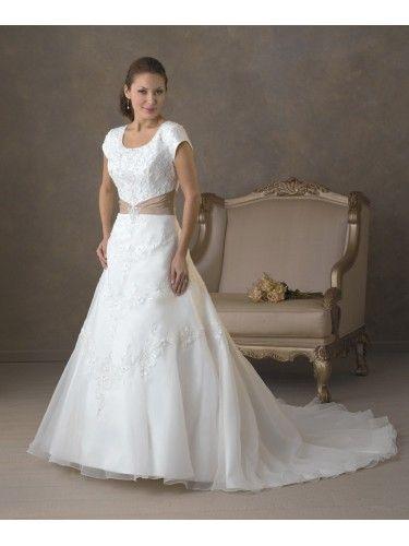 Taffeta Scoop Neckline Intricately Hand-Beaded Bodice Wedding Dress
