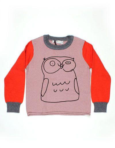 Lichtroze Lucky Owl trui met rode mouwen en uil - Stella McCartney