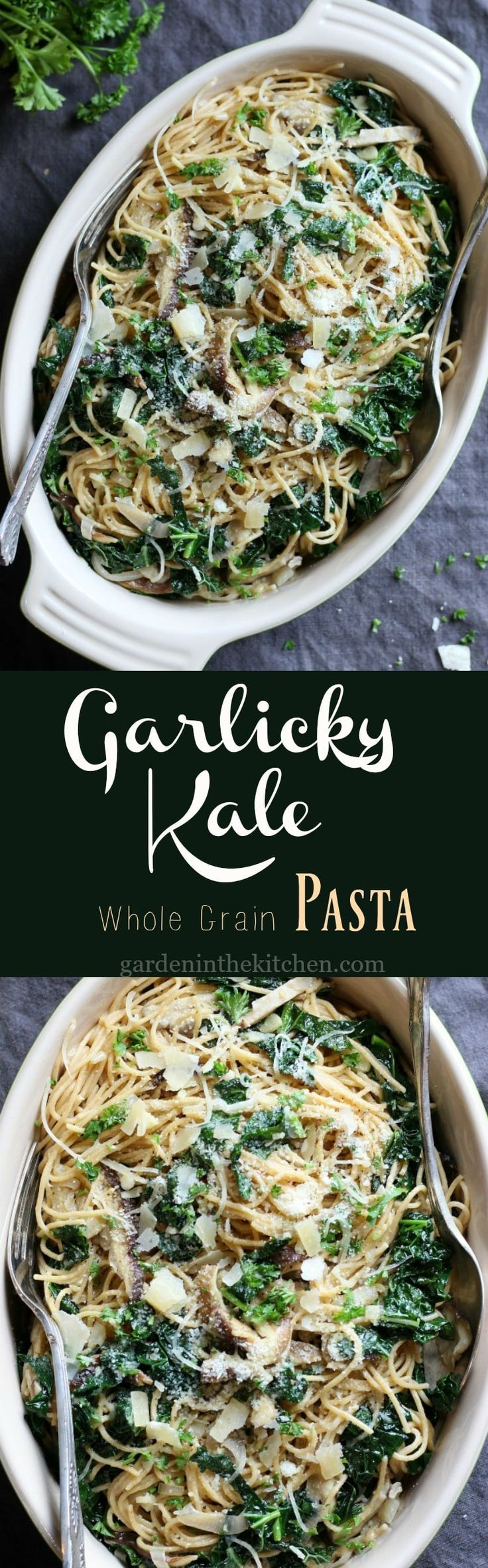 Garlicky Kale Pasta. For vegan use chicken free chicken broth and non dairy parmesan shreds