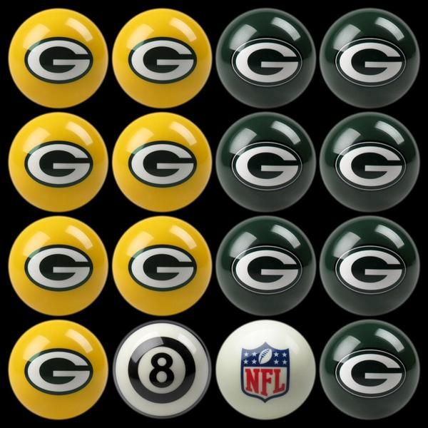 "Let the battle begin.  Take the game of billiards to a new level with the Green Bay Packers Home vs Away Billiard Balls.  This set of regulation pool table balls showcase the team colors and logo plus an 8 ball and cue ball with the league logo.  Pair with the Green Bay Packers pool table, table felt, pool cue and triangle for a game room with spirit.  These striking billiard balls take on the game of 8-Ball at a whole new level. FEATURES  2 1/4"" regulation size pool balls Home & Away Jer..."