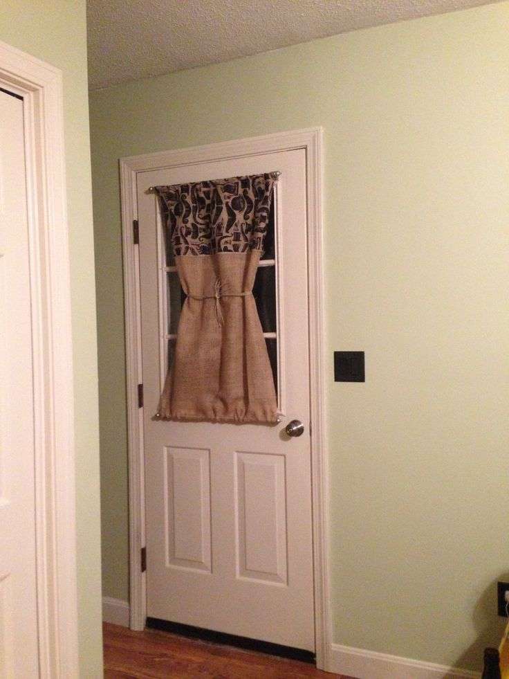 Burlap Door Curtain With Magnetic Curtain Rods Door