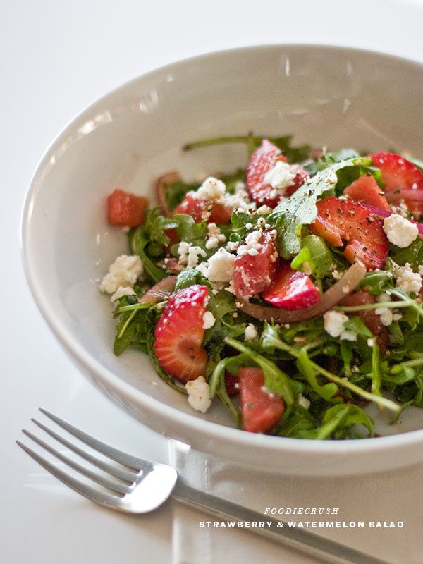 Strawberry Watermelon and Arugula Salad | foodiecrush.com