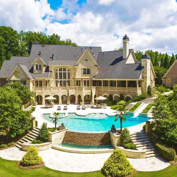 54 stunning dream homes mega mansions from social media - Big Houses With Pools With Slides