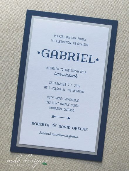Casual and elegant navy blue bar mitzvah invitation