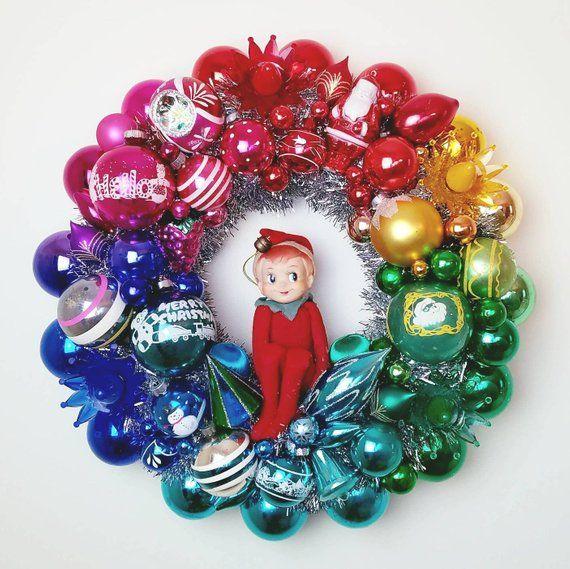 Summer Sale Vintage Heirloom Wreath Vintage Elf In A Rainbow Christmas Ornament Wreath Vintage Christmas Ornaments Vintage Ornament Wreath