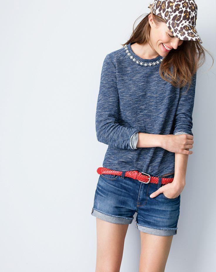 marled jeweled sweatshirt + denim short in dark von wash + canvas leopard print baseball cap + belt