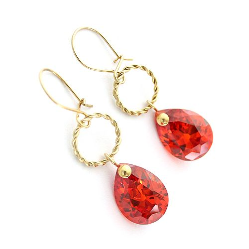 Gold-plated silver and red cubic zirconia drops. Retro earrings.
