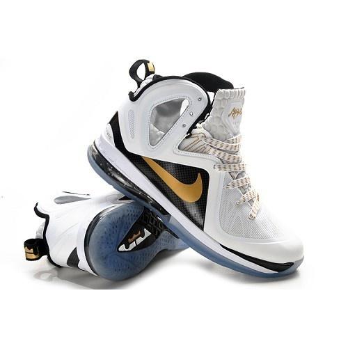 Nike LeBron 9(IX) P.S. Elite White-Metallic Gold-Black 516958-