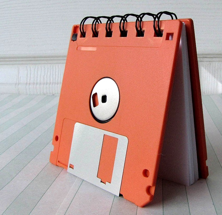 Orange Recycled Geek Gear Blank Floppy Disk Mini Notebook