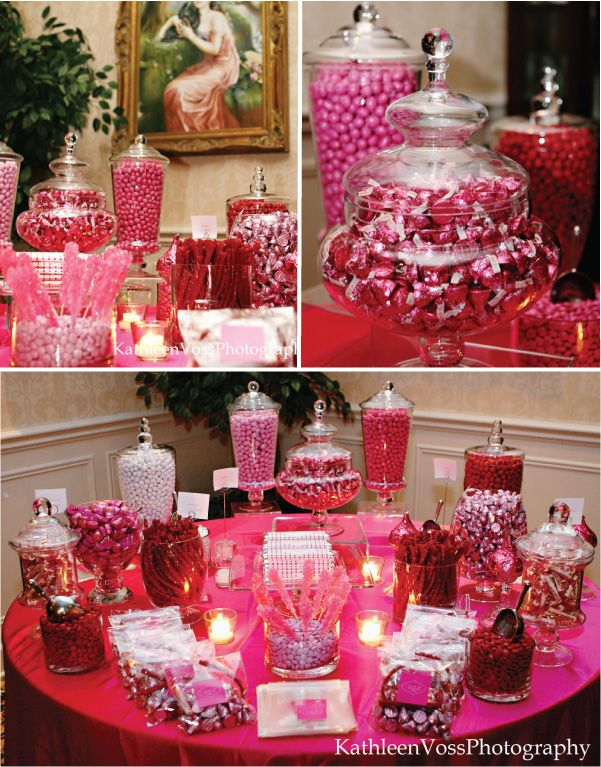 In lieu of more traditional wedding (or other party) favors, host a candy bar.  Guests can receive little paper bags or more decorative pouches with their names and seating assignments on them which can double as candy sacks for later in the evening.