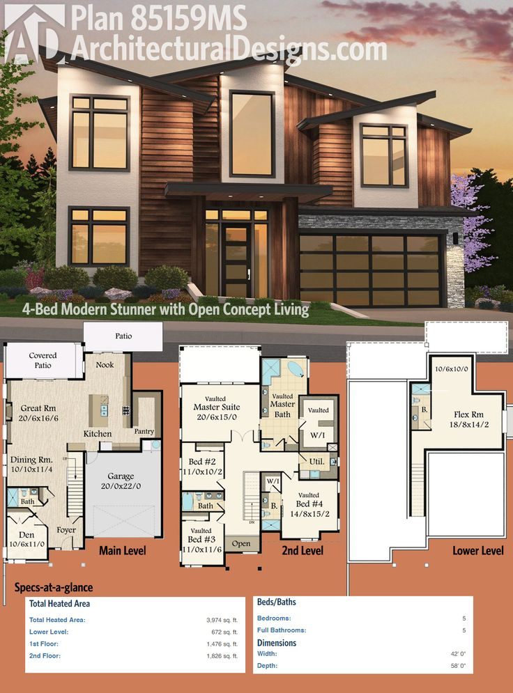 227 best modern house plans images on pinterest for Contemporary open floor plans