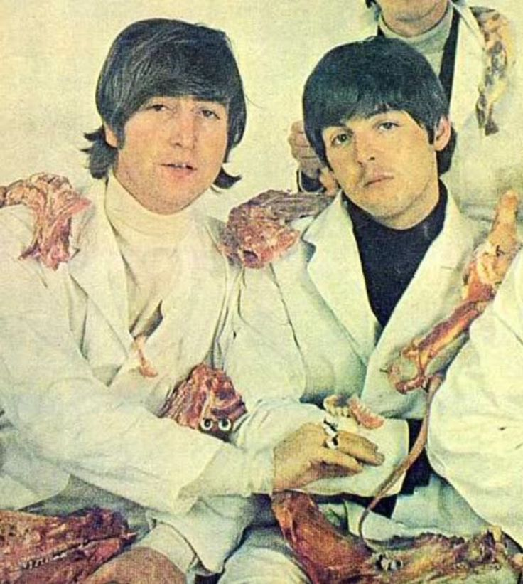 "One of the controversial session photos from the ""Yesterday and Today"" photo shoot. Pictured are John Lennon and James Paul McCartney."