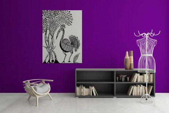 Madhubani Sawan - Mggk Signature Ink Art Canvas #canvas #holiday #gifts #christmas #handmade #handdesigned #lineart #zentangle #indiaart #buynow #peacock #abstract