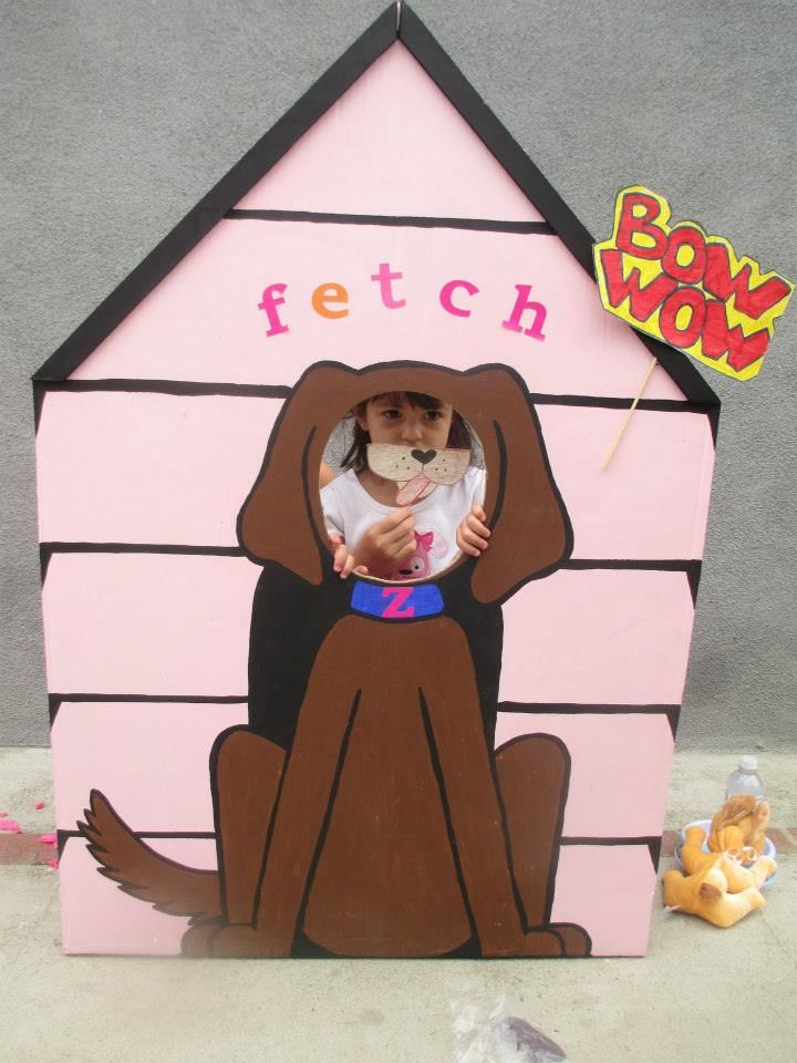 puppy photo prop made for the kids to have fun taking pictures at a puppy themed birthday party