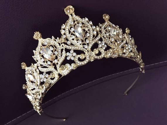 Deluxe Crystal Crown Tiara Headband Gold Champagne