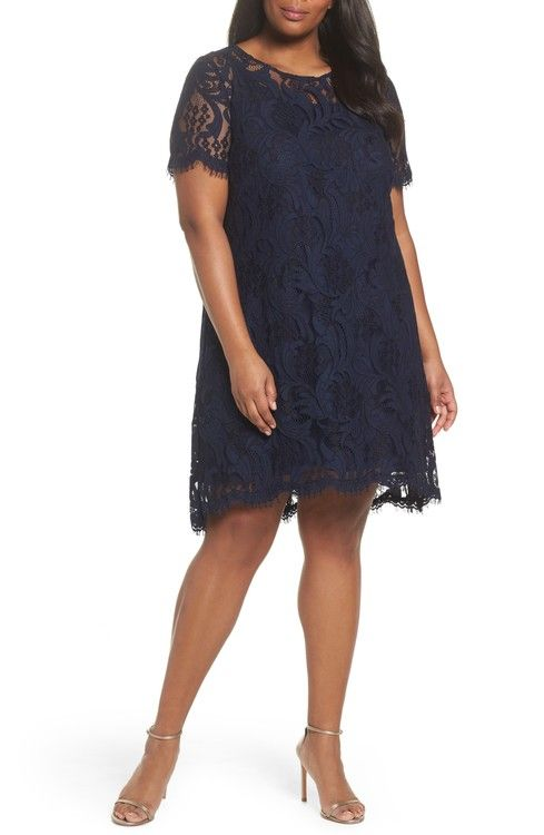Main Image - Tahari Lace High/Low Dress (Plus Size)