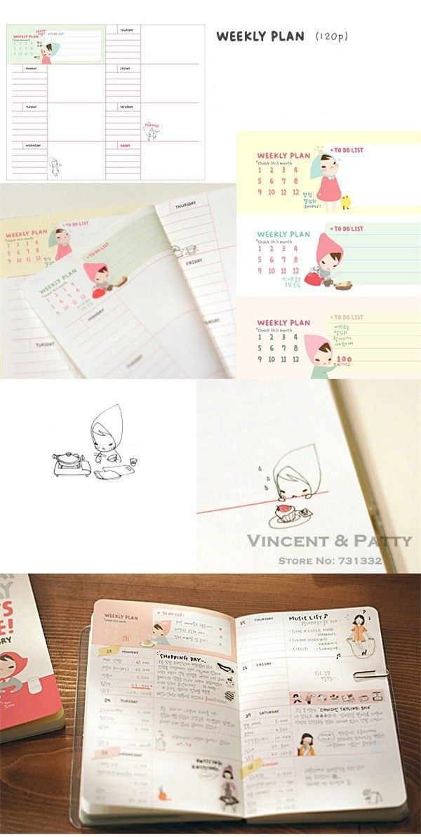 Cute Notebook Red hat girl Agenda week plan Diary Day planner journal record stationery office School supplies 6451-in Notebooks from Office & School Supplies on Aliexpress.com | Alibaba Group